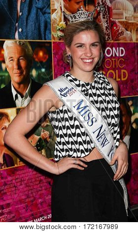 NEW YORK-MAR 3: Miss New York 2014 Jillian Tapper attends the premiere of