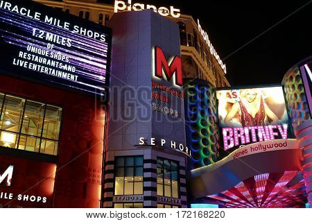 LAS VEGAS - OCT 09 : View of the strip in Las Vegas on Oct 09 2016. The Las Vegas Strip is an approximately 4.2-mile (6.8 km) stretch of Las Vegas Boulevard in Clark County Nevada.