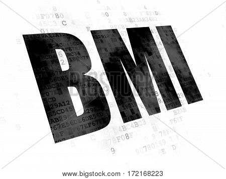 Healthcare concept: Pixelated black text BMI on Digital background