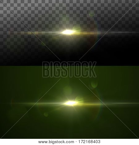 Sparkle sun burst. Digital lens flare effect. Vector illustration of lens flare light effect. Light rays and flicker. VFX element for design