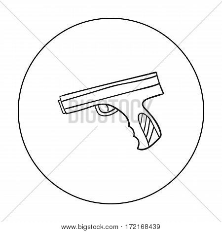 Paintball hand gun icon in outline design isolated on white background. Paintball symbol stock vector illustration.