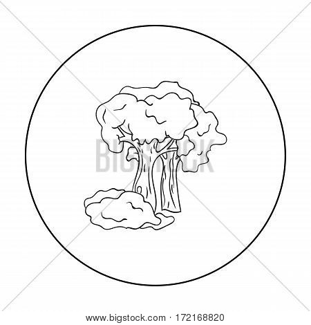Paintball playing field icon in outline design isolated on white background. Paintball symbol stock vector illustration.