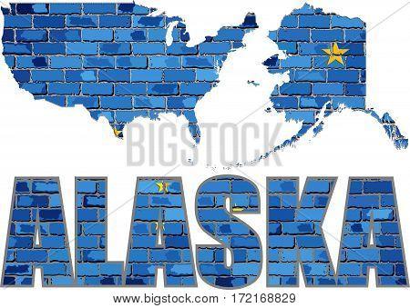 Alaska on a brick wall with effect - 3D Illustration, Alaska Flag painted on brick wall, Font with the Alaska flag