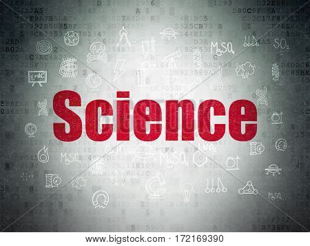 Science concept: Painted red text Science on Digital Data Paper background with  Hand Drawn Science Icons