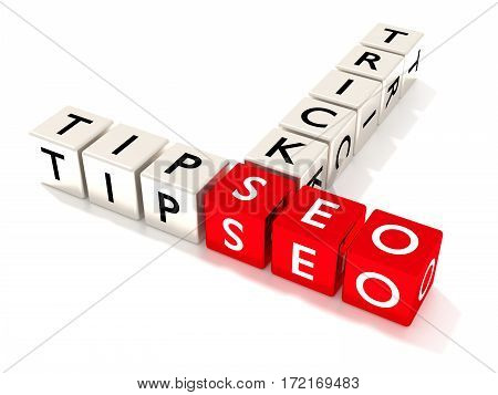 Several white dice showing the word tips and tricks next to three red cubes with the letters seo search engine optimization concept 3D illustration