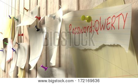 Note with password qwerty on a wooden kitchen wall with pins cybersecurity 3D illustration