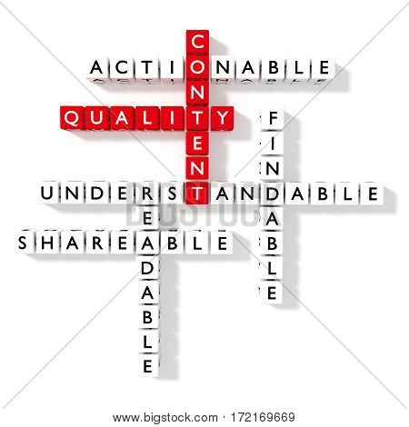 Crossword puzzle showing content quality components as dice on a white flat board SEO concept 3D illustration