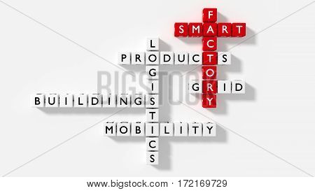 Crossword puzzle flat view with dice showing smart factory keywords in red and white industry 4.0 concept 3D illustration