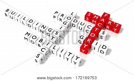 Crossword puzzle with dice showing smart factory keywords in red and white industry 4.0 concept 3D illustration