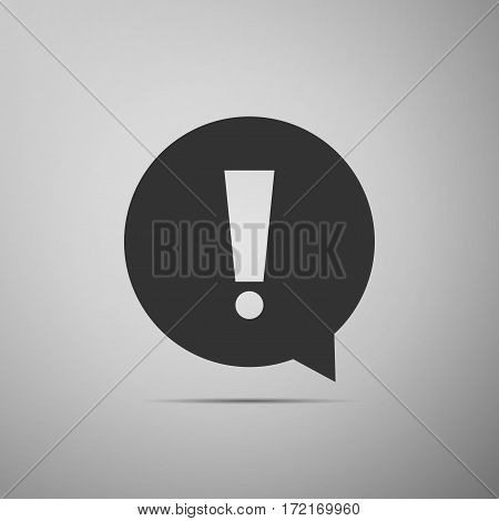 Exclamation mark in circle. Hazard warning symbol flat icon on grey background. Vector Illustration