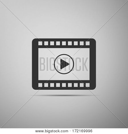 Video flat icon on grey background. Vector Illustration
