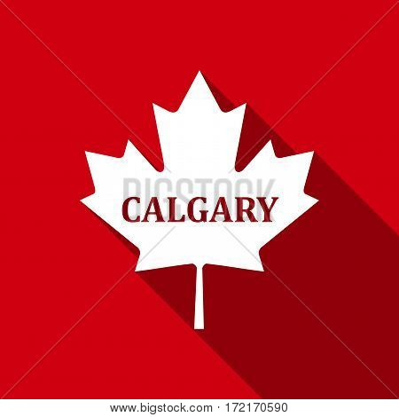 Canadian maple leaf with city name Calgary flat icon with long shadow. Vector Illustration
