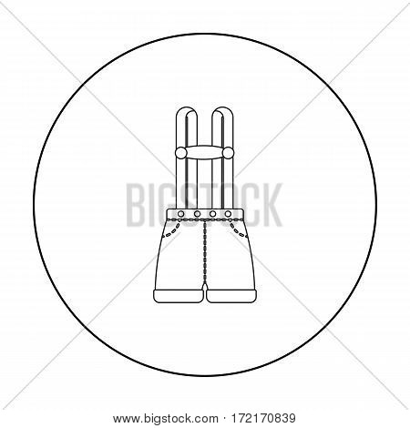 Lederhosen icon in outline style isolated on white background. Oktoberfest symbol vector illustration.