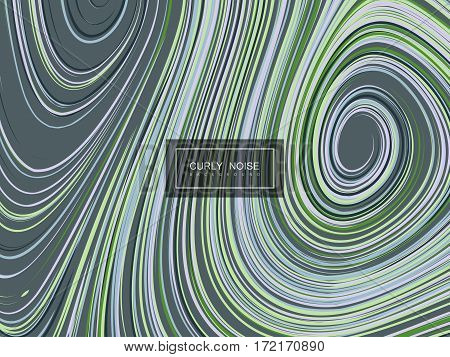 Abstract artistic background with curled pattern. Vector vintage illustration of curled lines pattern. Marble or acrylic texture imitation. Abstract diffusion colorful background