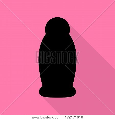 Gel, Foam Or Liquid Soap. Dispenser Pump Plastic Bottle silhouette. Black icon with flat style shadow path on pink background.