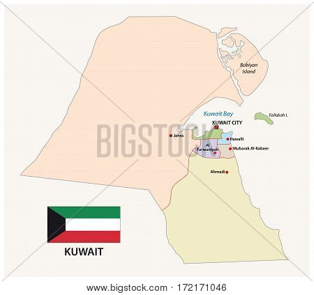 kuwait administrative and political map with flag