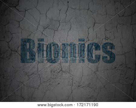 Science concept: Blue Bionics on grunge textured concrete wall background