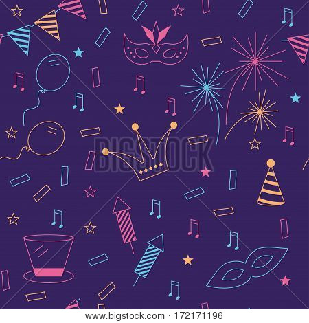 Celebration festive seamless background with carnival icons and objects. Vector masquerade
