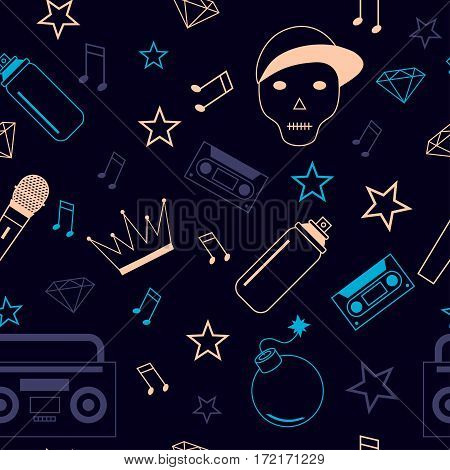 Rap hip hop music seamless background vector illustration