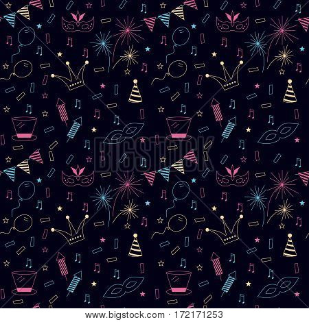 Celebration festive seamless background with carnival icons and objects. Vector masquerade party texture