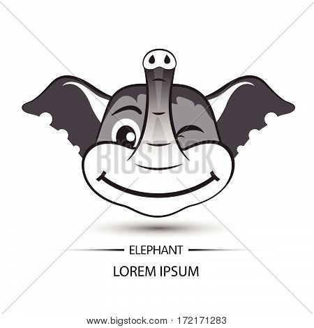 Elephant Face Beatific Smile Logo And White Background Vector
