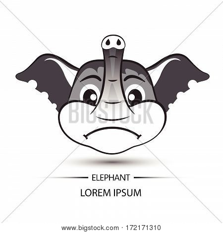Elephant Face Frown Logo And White Background Vector