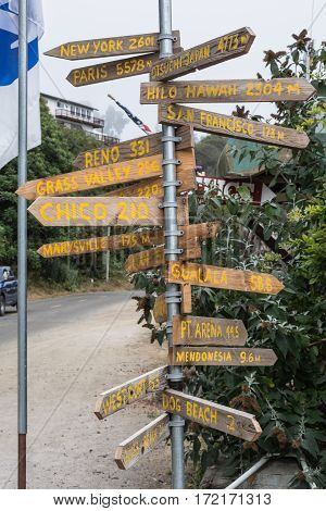 View of a pole of destinations in Fort Bragg, California