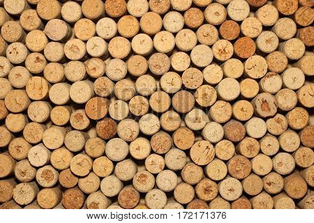 Close up pattern background of many different wine corks, wine corks background, different wine corks texture