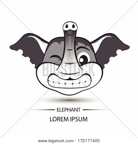 Elephant Face Saw Tooth Smile Logo And White Background Vector