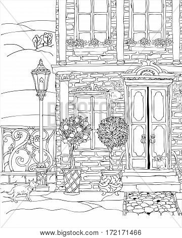 Fantasy house facade. Fairy tale house. Fantastic details, garden flower. high detailed. T-shirt print. Album cover. Coloring book page for adults. Black White
