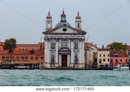 View of the Dominican church Gesuati Santa Maria del Rosario in the Dorsoduro Sestiere on the Giudecca canal. Venice. Italy.