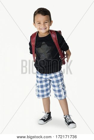 Young asian kid student with a backpack full body portrait