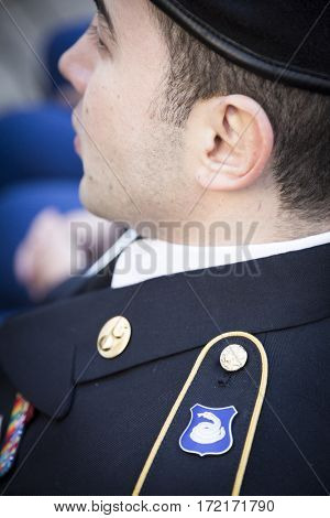 NEW YORK - 11 NOV 2016: A member of the US Army 369th Sustainment Brigade at the Opening ceremony in Madison Square Park before the annual Americas Parade up 5th Avenue on Veterans Day in Manhattan.