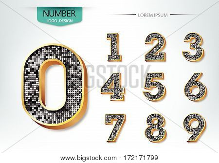Golden And Diamond Metallic Shiny Numbers Vector