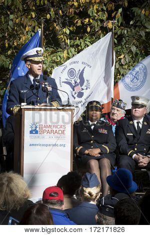 NEW YORK - 11 NOV 2016: USCG Admiral Paul Zukunft, Honorary Grand Marshall speaks at the opening ceremony in Madison Square Park for the annual Americas Parade up 5th Avenue, Veterans Day, Manhattan.