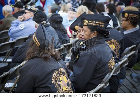 NEW YORK - 11 NOV 2016: Group of veterans from the National Association of Black Military Women at opening ceremony in Madison Square Park for the annual Americas Parade up 5th Ave on Veterans Day.