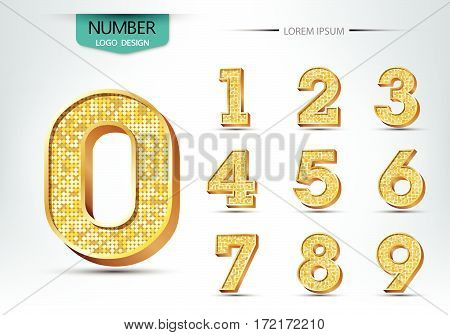 Golden metallic shiny numbers concept vector illustration