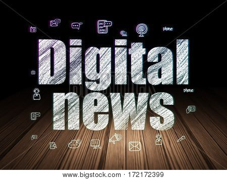 News concept: Glowing text Digital News,  Hand Drawn News Icons in grunge dark room with Wooden Floor, black background