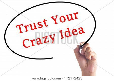 Hand Writing Trust Your Crazy Idea On Transparent Board