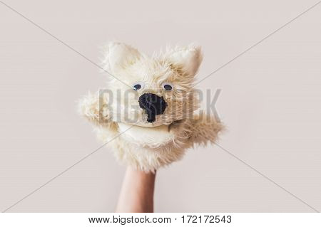 Puppet Show Dog On A Gray Background. Space For Text Or Replicas