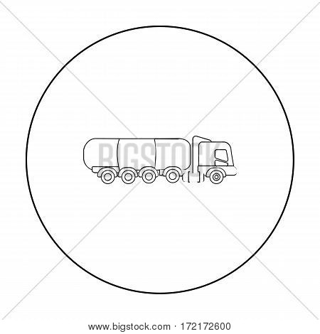 Oil tank trucker icon in outline style isolated on white background. Oil industry symbol vector illustration.