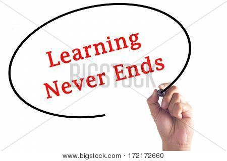Hand Writing Learning Never Ends On Transparent Board