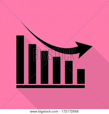 Declining graph sign. Black icon with flat style shadow path on pink background.
