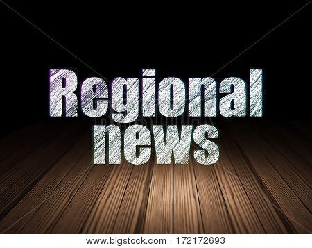 News concept: Glowing text Regional News in grunge dark room with Wooden Floor, black background