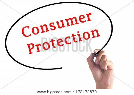 Hand Writing Consumer Protection On Transparent Board