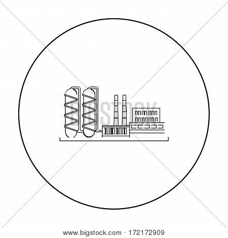 Oil refinery factory icon in outline style isolated on white background. Oil industry symbol vector illustration.