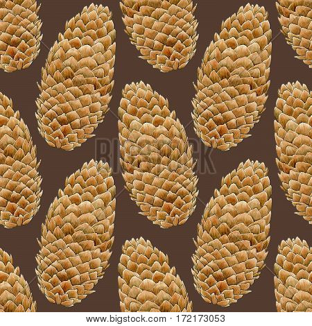 Pine cone illustration. Seamless pattern with hand-drawn cones on the dark background. Real watercolor drawing