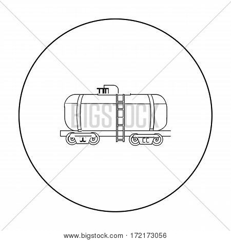 Oil tank car icon in outline style isolated on white background. Oil industry symbol vector illustration.