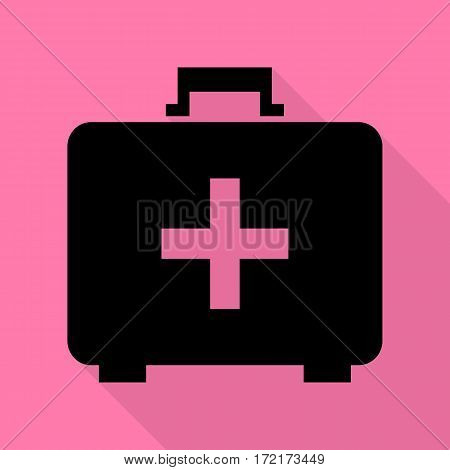 Medical First aid box sign. Black icon with flat style shadow path on pink background.