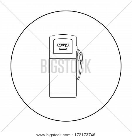 Fuel dispencer icon in outline style isolated on white background. Oil industry symbol vector illustration.